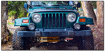 Green Jeep on Trail