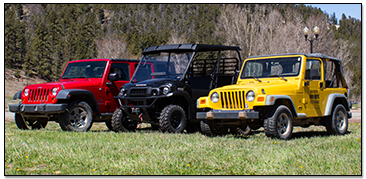 Row of Jeeps and OHVs
